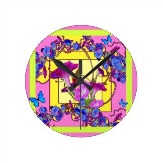 Pink art Blue Morning glories Round Clock