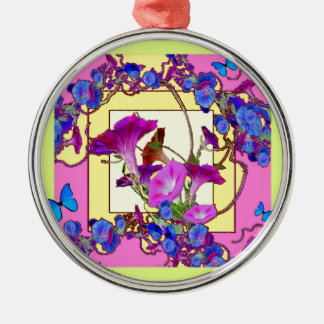 Pink art Blue Morning glories Silver-Colored Round Ornament