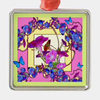 Pink art Blue Morning glories Silver-Colored Square Ornament