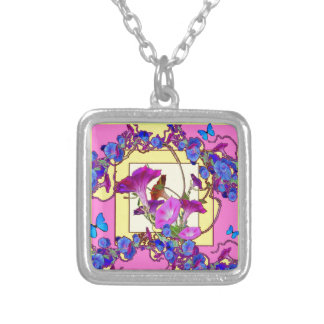 Pink art Blue Morning glories Silver Plated Necklace