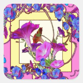Pink art Blue Morning glories Square Sticker