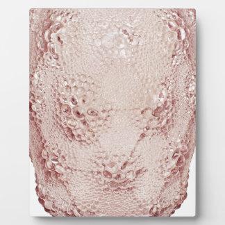 Pink Art Deco glass vase with bubbles. Plaque