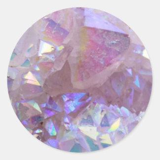 Pink Aura Crystals Classic Round Sticker