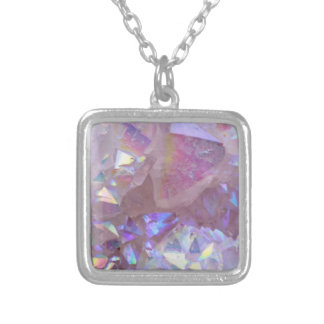 Pink Aura Crystals Silver Plated Necklace