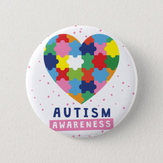 pink autism awareness 2 inch round button