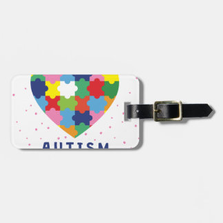 pink autism awareness luggage tag