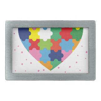 pink autism awareness rectangular belt buckle