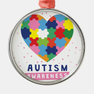 pink autism awareness Silver-Colored round ornament