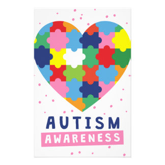 pink autism awareness stationery