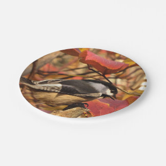 Pink Autumn Foliage with Chickadee Birds 7 Inch Paper Plate