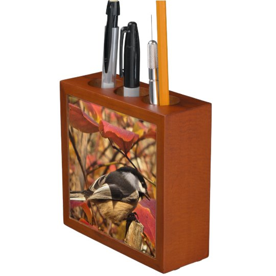 Pink Autumn Leaves and Chickadee Bird Desk Organizer