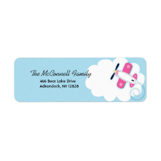 Pink Aviator Airplane PRINTABLE ADDRESS LABELS