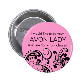 Pink Avon Lady 2 Inch Round Button