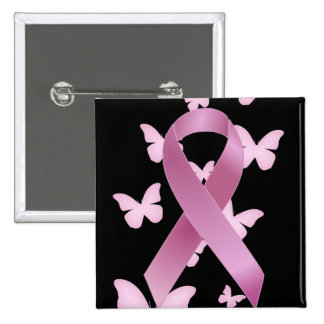 Pink Awareness Ribbon 2 Inch Square Button