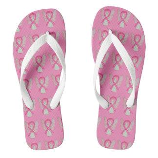 Pink Awareness Ribbon Angel Custom Flip Flops