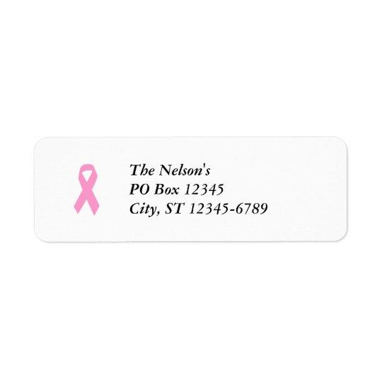 Pink Awareness Ribbon Return Address Label