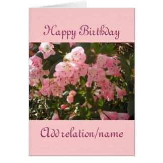 Pink Azalea Flower Birthday Card