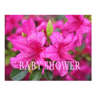 Pink azalea flowers baby shower party invitations. postcard