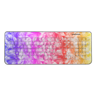 Pink Azalea Flowers Rainbow Wireless Keyboard