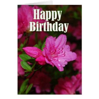 Pink Azalea Happy Birthday Card