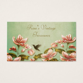 Pink Azaleas Vintage  on Green Mist Retro Business Card