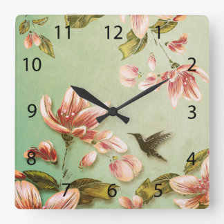Pink Azaleas Vintage  on Green Mist Square Wall Clock