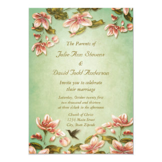 Pink Azaleas Vintage  on Green Mist Wedding Card