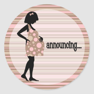 Pink Baby Announcement Stickers