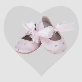 Pink Baby Ballet Shoes Heart Sticker