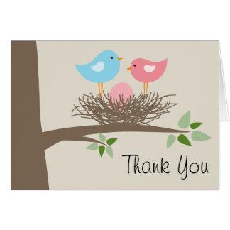 Pink Baby Bird's Egg & Nest Thank You Card