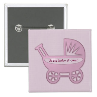 pink baby buggy 2 inch square button