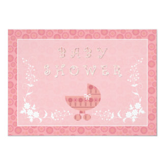 Pink Baby Buggy Baby Shower Invitations