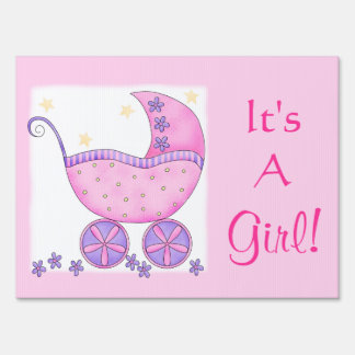 Pink Baby Buggy Its A Girl Birth Announcement Sign