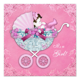 Pink Baby Carriage Baby Girl Shower Card