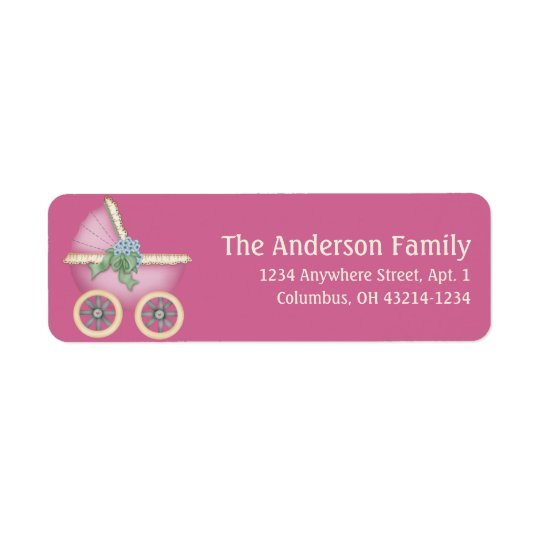 Pink Baby Carriage Stoller d4 Address Labels