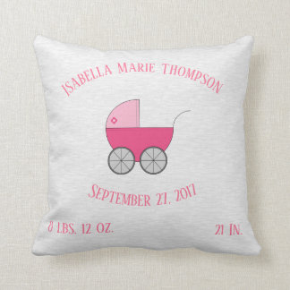 Pink Baby Carriage Stroller Personalized Birth Throw Pillow