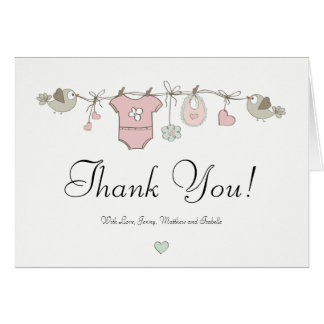 Pink Baby Clothes | Baby Shower Thank You Card