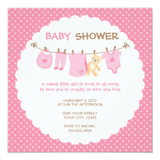 Pink Baby Clothes Line Shower Invitations