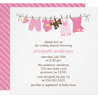Pink Baby Clothesline Girl Baby Shower Card