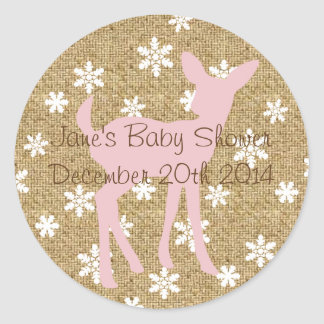 Pink Baby Deer and Snowflake Burlap Sticker