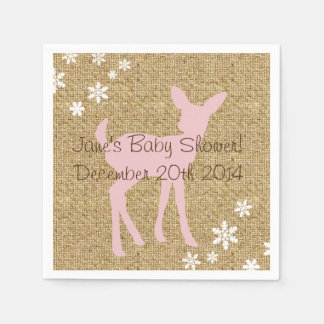Pink Baby Deer and Snowflakes Burlap Napkins Disposable Napkins