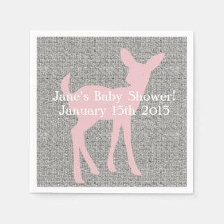 Pink Baby Deer & Gray Burlap Napkins Disposable Napkins
