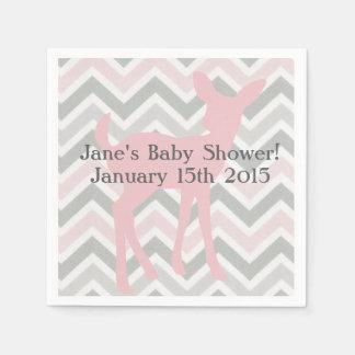 Pink Baby Deer & Gray/Pink Chevron Napkins Paper Napkin