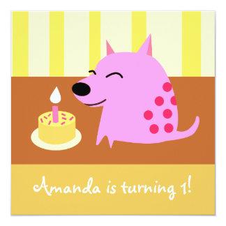 Pink Baby Dog Birthday Invitation
