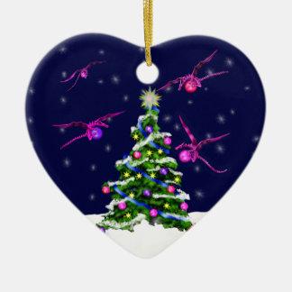 Pink Baby Dragons Encircle a Christmas Tree Ceramic Heart Ornament