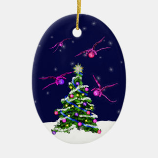Pink Baby Dragons Encircle a Christmas Tree Ceramic Oval Ornament