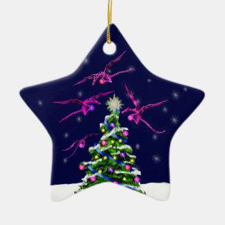 Pink Baby Dragons Encircle a Christmas Tree Ceramic Star Ornament