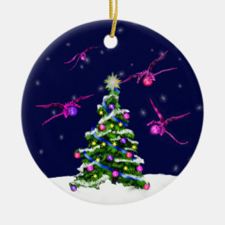 Pink Baby Dragons Encircle a Christmas Tree Round Ceramic Ornament