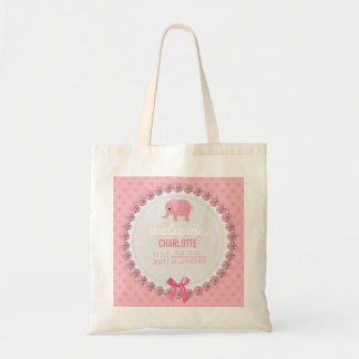 Pink Baby Elephant Birth Announcement | New Mommy Tote Bag