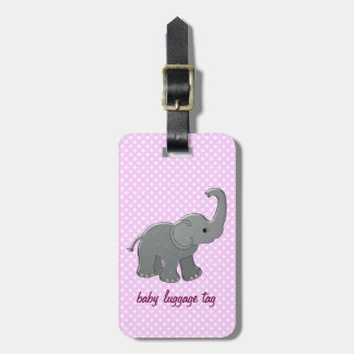 pink baby elephant luggage tag